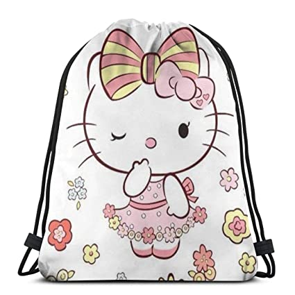 877a79be8 Image Unavailable. Image not available for. Color: MPJTJGWZ Classic  Drawstring Bag-Hello Kitty Florals Gym Backpack Shoulder Bags Sport Storage  ...