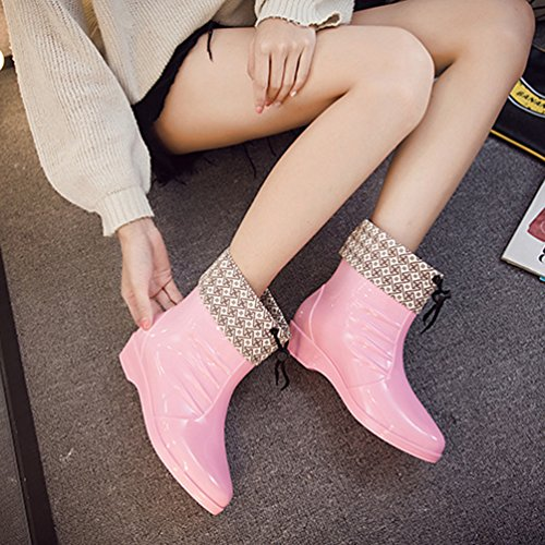 Agua Moda Lluvia Mujer de Bota Pink Chelsea de Impermeable Casual Botas Zapatos Xinwcang xZTEg