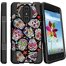 ZTE Grand X4 Black Case, Grand X4 Case, Z959 Hard Shell Case [SHOCK FUSION] Dual Layer Kickstand Case with Designs by MINITURTLE - Girly Sugar Skulls