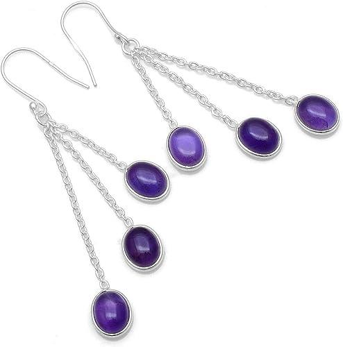 Sterling Silver Celtic Knot Triquetra Amethyst Gemstone Drop Dangle Earrings