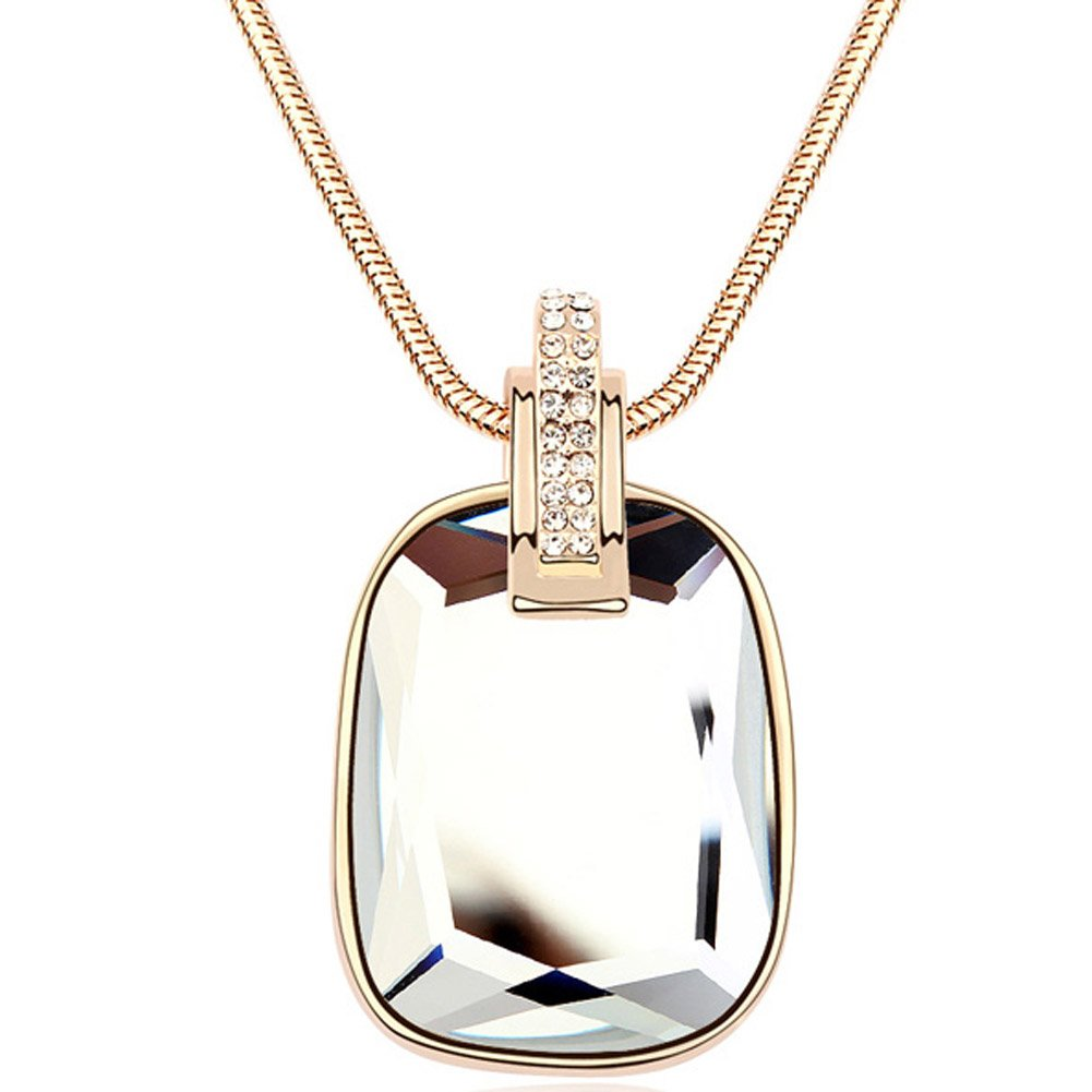 Latigerf Rectangle Shaped Pendant Long Necklace White Gold Plated Swarovski Elements Crystal White