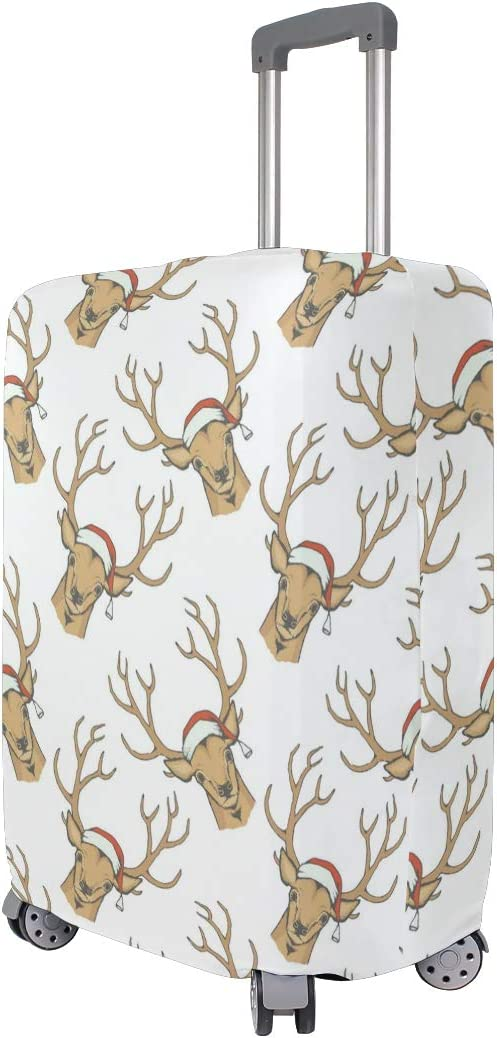 Reindeer Wearing Christmas Hat Travel Luggage Protector Case Suitcase Protector For Man/&Woman Fits 18-32 Inch Luggage