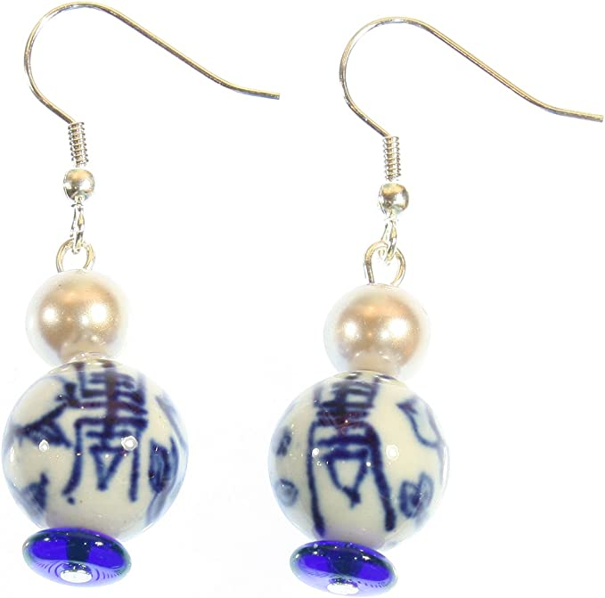 UK Seller Chinese Style Yellow /& Pink Porcelain Beads with Gold Crystals Jewellery Drop Dangle Earrings