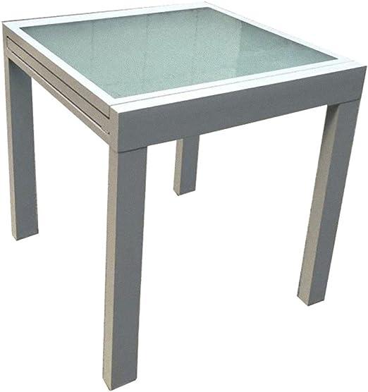Garden Pleasure Mesa extensible 65/130x65 jardín terraza aluminio cristal mesa de comedor: Amazon.es: Jardín