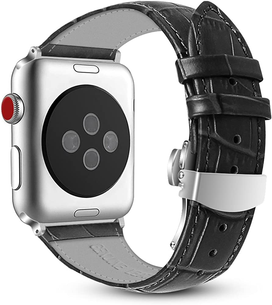 Fintie Leather Band Compatible with Apple Watch 44mm 42mm, Replacement Wrist Bands with Adjustable Butterfly Buckle Compatible with Apple Watch Series 6 5 4 3 2 1 & iWatch SE - Black