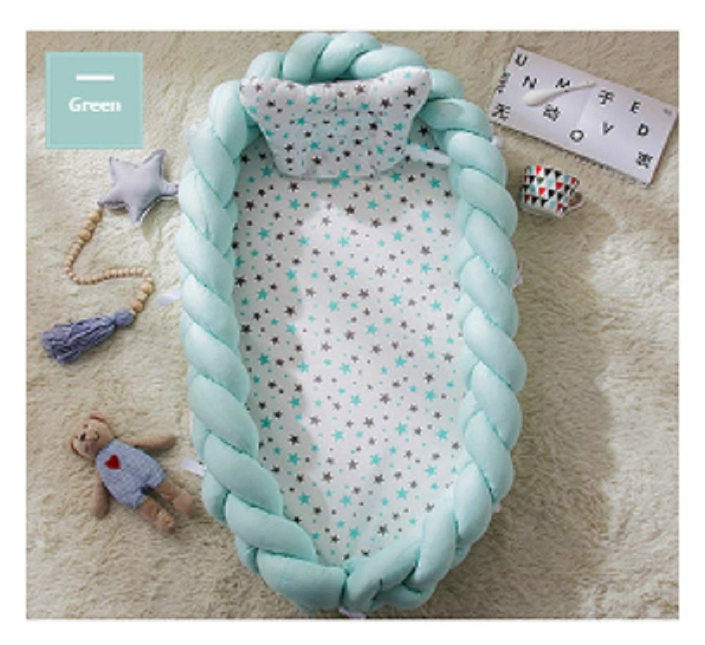Baby Nest Bed Travel Crib Baby Bed Infant CO Sleeping Cotton Cradle Portable Snuggle 9055cm Newborn Baby Bassinet BB Artifact - Weaving Knok Green by Hwealth