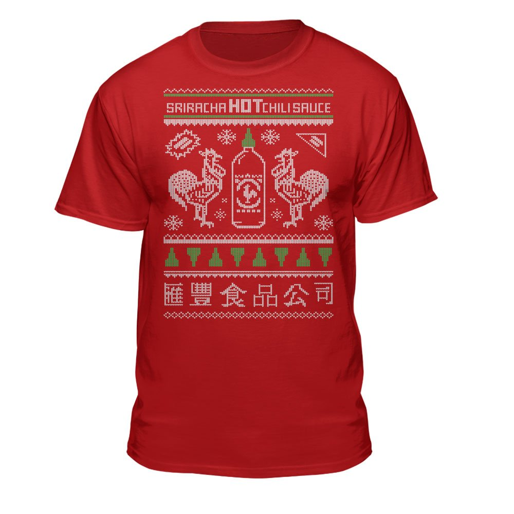 Sriracha Official Ugly Christmas Sweater Hot Chili Sauce Red Xmas T ...