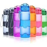 Grsta Bottiglia d'acqua sportiva senza BPA - riutilizzabile borraccia in plastica tritan 400ml/500ml/700ml/1l, ideale bottiglie per bambini, scuola, ufficio, bici, calcio, fitness, yoga | a prova di perdite borracce con filtro, un clic aperto