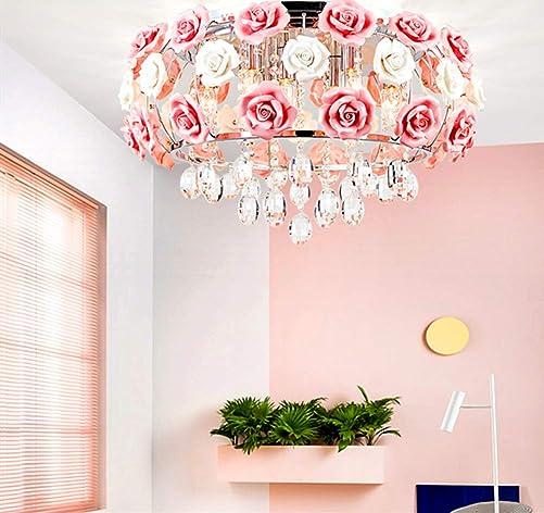 MoreChange 19.5inch Crystal Ceiling Light Fixtures Flush Mount Ceramic Rose Flower