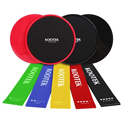 Amazon kootek resistance bands and core sliders fitness kit