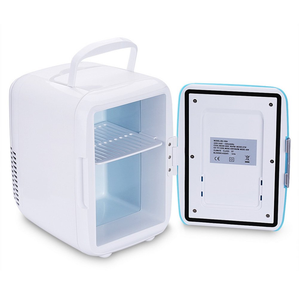 Mini Car Fridge 4L 12V Cooler& Warmer Refrigerator Heating Food Electric Portable Icebox Travel Box ABS No Compressor for Camping (Blue) kaersishop
