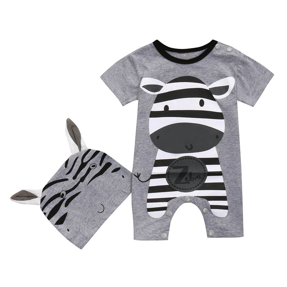 Clearance Sale 6M-24M, Yamally_9R 2PC Toddler Summer Set Baby Boys Girls Cow Romper+Hats