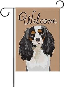 My Daily Welcome Cavalier King Charles Spaniel Dog Decorative Double Sided Garden Flag 12 x 18 inch Garden Banner Yard Flag