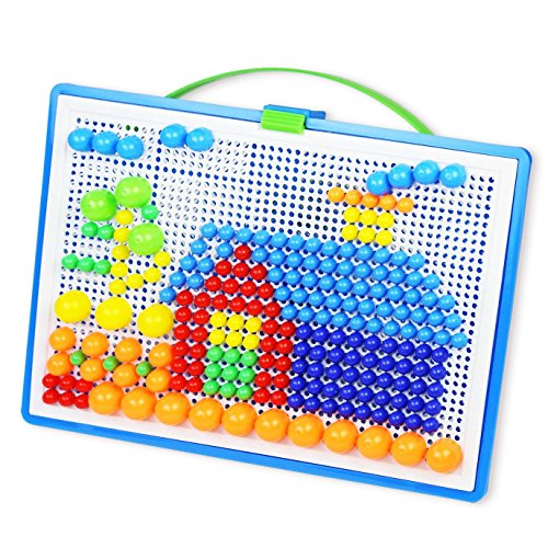 (SUEKOOP Creative Mosaic Pegboard Educational Toys for Children(Random Colors))