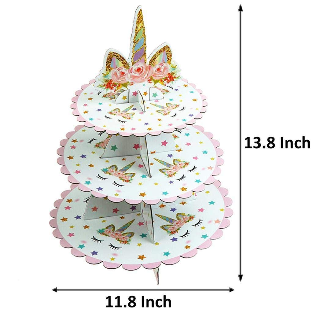LIGONG 3 Tier Unicorn Cardboard Cupcake Stand Tower Mini Round Cupcake Stand Dessert Cupcake Holder for Baby Shower Kids Birthday Party or Unicorn Themed Party MagiGift Gender Reveal Party