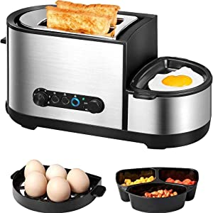 JIERTYU Breakfast Machine, 5-in-1 Toaster with Egg Boiler, 2 Slice Toaster with Mini Frying Pan, Steamer, Wide Slot, 7 Modes of Browning Control, 1250 W