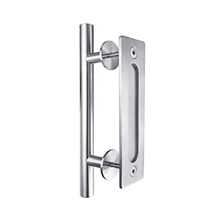 SMARTSTANDARD SHH0801STAINLESS Heavy Duty Large Rustic Flush And Pull Barn Door  Handle, 12u0026quot;,
