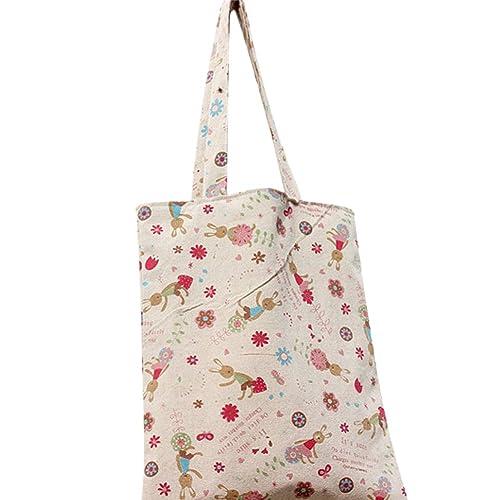 09c47120dc76 Caixia Women's Cute Bunny Print Canvas Tote Shopping Bag Beige