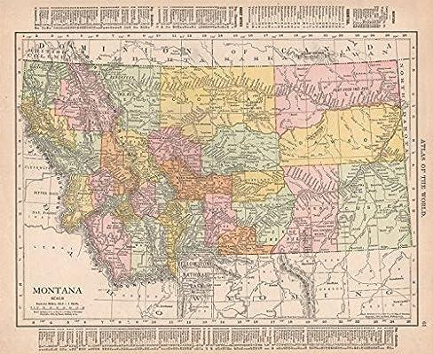 Amazon.com: Montana state map showing counties. Yellowstone ...