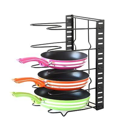 Estantería KuanGuang para sartenes, organizador de cocina, de altura ajustable, con 5 estantes