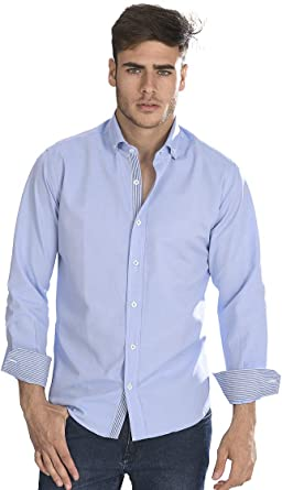 Camisa Oxford semientallada y Manga Larga de Hombre en Azul ozono - 8_4XL, Azul Tinta: Amazon.es: Ropa y accesorios