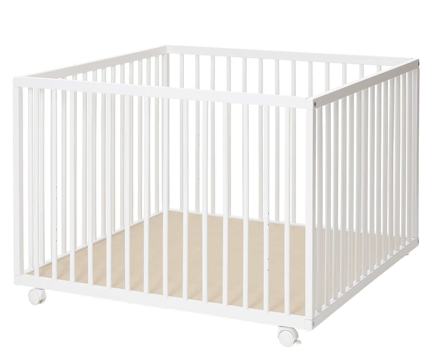 BabyDan Large Wooden Playpen, White, 1 m x 1 m BabyDan A/S 6267-01-75