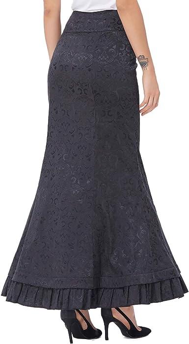 Belle Poque Mujer Falda Larga Vintage De Cintura Alta Taile ...