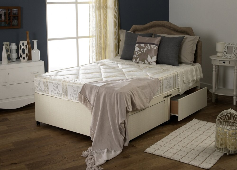 Happy Beds Divan Bed Set Luxury Quilted Mattress No Drawers No Headboard 2'6'' Small Single 75 x 190 cm