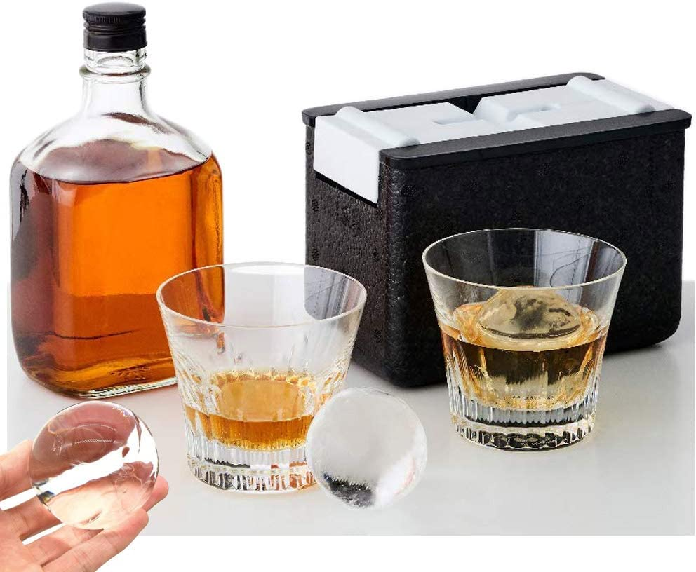 "Ice Ball Mold Crystal Clear Ice Ball Maker Large Sphere Ice Duo Trays for Whiskey Best Kitchen Mold Maker 2 Slow-Melting 2.5"" Ice Spheres for Cocktails"