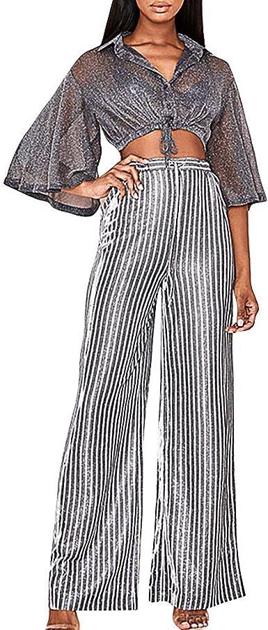 Amazon Com Pantalones De Mujer De Cintura Alta Rayas Amarillas Pierna Larga Parte Inferior De La Campana Palazzo Xl Amarillo Clothing