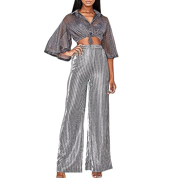 Amazon.com: Pantalones de mujer de cintura alta, rayas ...