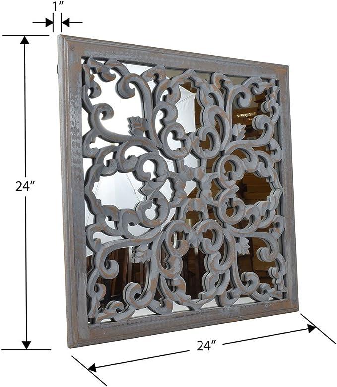 Indias Patrimonio – Espejo de pared de madera DM con tallado ...