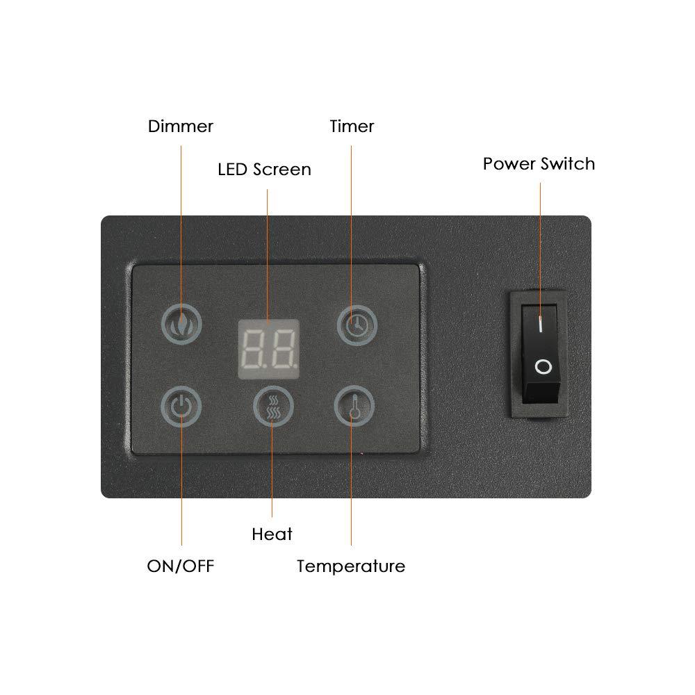 Decdeal EF-11B - Chimenea Eléctrica De Pared 900-1800W,Control Al Distancia,Led Llama (88x56x15cm,Enchufe UK con Adaptador,Negro): Amazon.es: Hogar