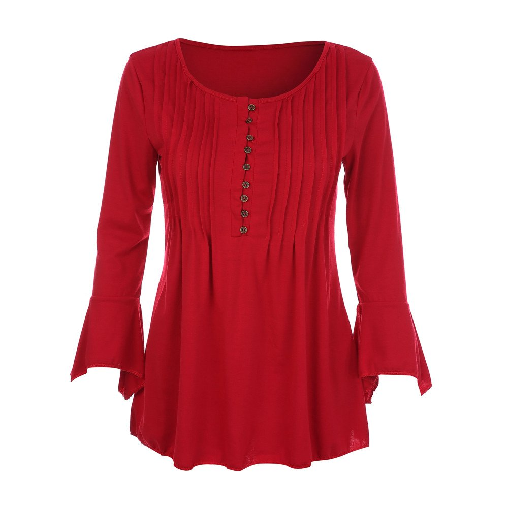 KaiCran Sweatshirt For Women Flare 3/4 Sleeve V Neck Buttons Blouse Tops Ladies T-Shirt Tunic Tops (Red, Large)