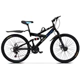 TOUNTLETS 26 inch Carbon Steel Mountain Bike,21-Speed Bicycle for Men,Full Suspension MTB Bicycle Adult Student Outdoors Unis