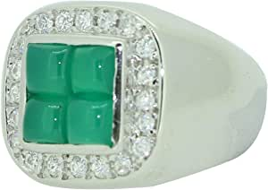 Fashion Ring For Men Silver 925,Inlaid With Zirconia And Jad Stone,Size 55,RT-41