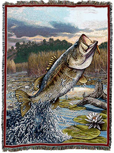 Pure Country Weavers | First Strike Bass Fish Woven Tapestry Throw Blanket with Fringe Cotton USA 72x54