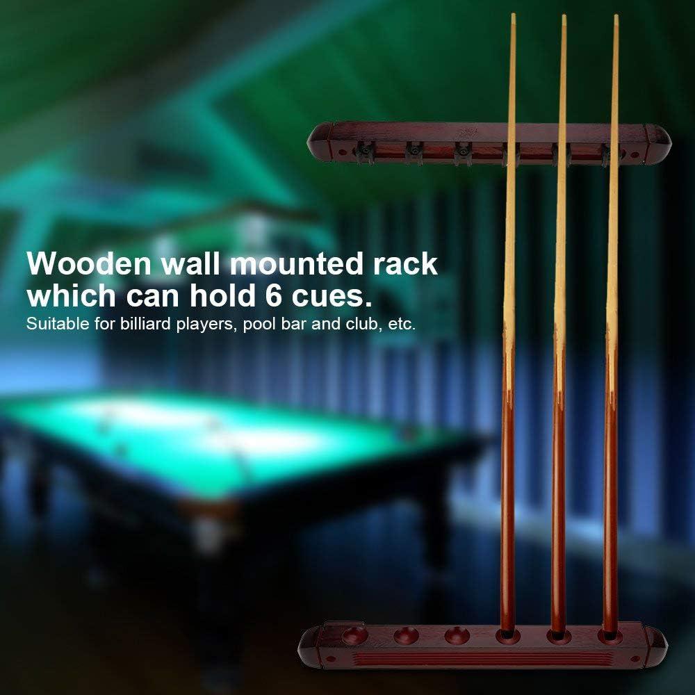 gotyou Soporte Billar Rack 6 Cue,Soporte Palos de Billar, Billar de Madera Cue Pole Soporte Montado en la Pared, Snooker Accessories para Clubes Escuelas, Hogares: Amazon.es: Deportes y aire libre