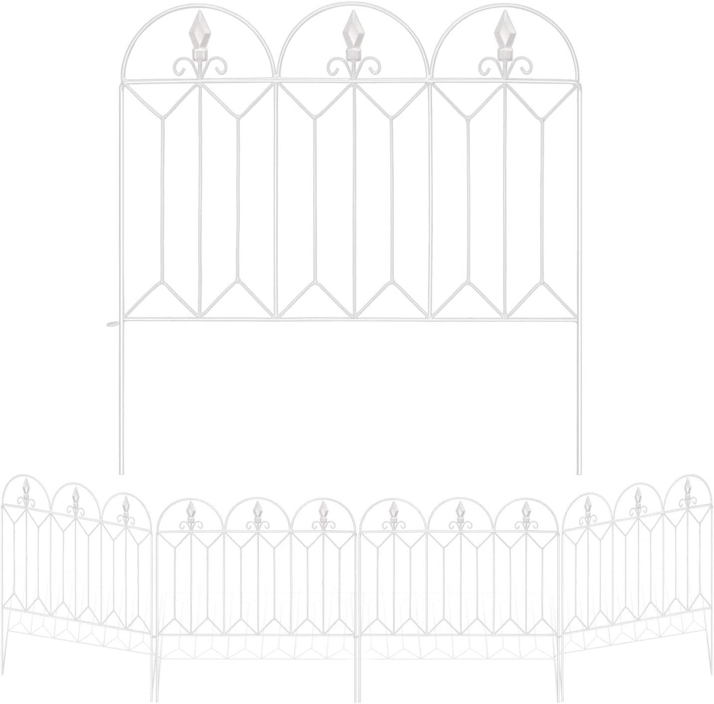 Amagabeli Garden Fence 24inx10ft Outdoor Decorative Fencing Landscape Wire Fencing Folding Wire Patio Border Edge Section Fences Flower Bed Animal Barrier Décor Picket White Rustproof Panels Wire