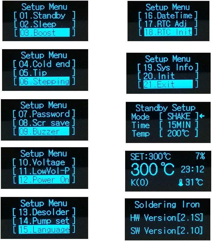 ILS T12 STM32 Soldadura Estaci/ón 5 Pin OLED 1,3 pulgadas Pantalla Soldadura electr/ónica digital a temperatura regulable Instrumentos 180 ~ 480 ℃ con puntas T12-K T12-BL Soldadura