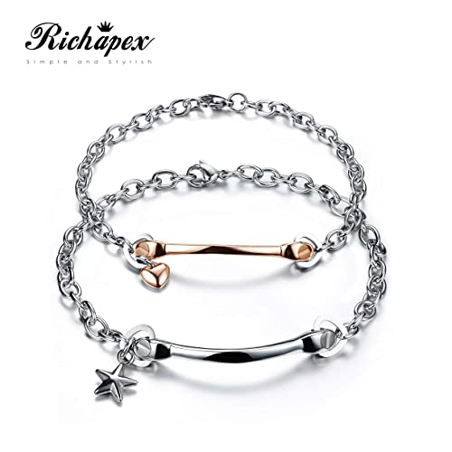 2ee907a9ddf21 Buy Richapex 2 Pcs Star Heart Couple Bracelet Silver & Rose Gold ...