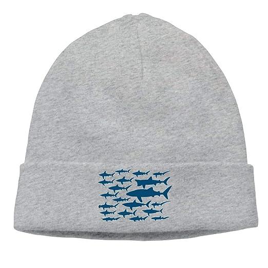 Ocean Shark Sea Fish Men and Women Fleece Beanie Hat Warm Knit Ski Skull Cap 16c4c72e8af