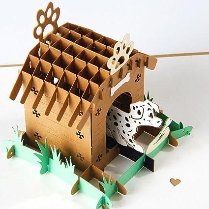 uniqueplus – Caseta de perro Creative 3d Pop Up Cards – Tarjetas de regalo de felicitación