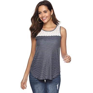 Qingsiy Chaleco de Mujer Confort y Transpirable Camisetas Blusa de ...