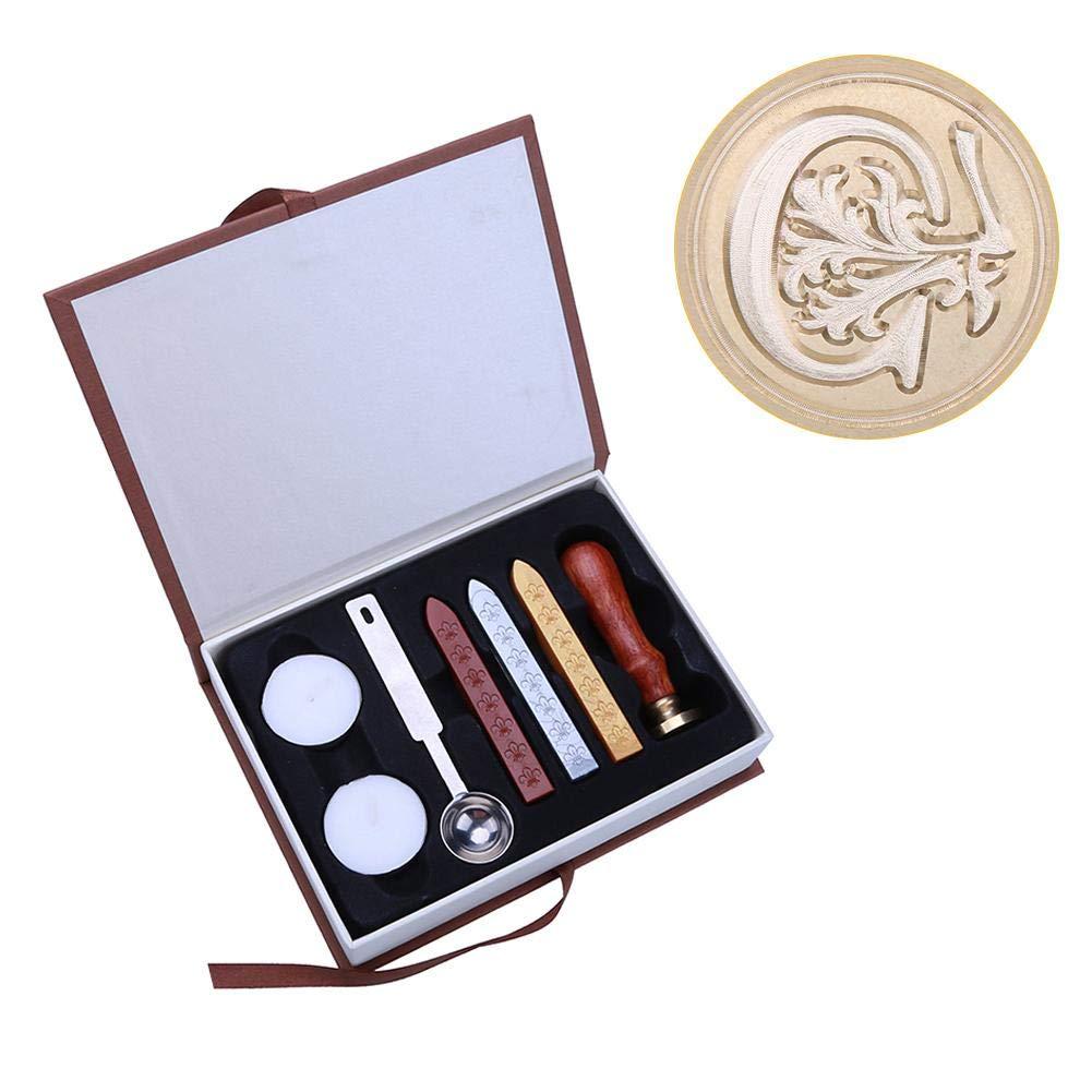 Umschl/äge Metallstempel /& Wachsstangen /& Schmelzl/öffel /& Aufbewahrungsbox a vanpower Siegelstempel-Set mit englischem Alphabet f/ür Einladungen 90mm//3.54in Siegeldekoration