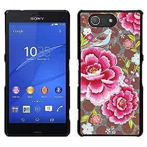 """Pulsar Snap-on Series Teléfono Carcasa Funda Case Caso para Sony Xperia Z3 Compact , Pétalos de la flor Modelo de lunar de la vendimia"""""""