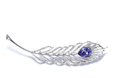 NEVI Crystals from Swarovski Peacock Feather Design Women Broach for Sarees  & Scarfs