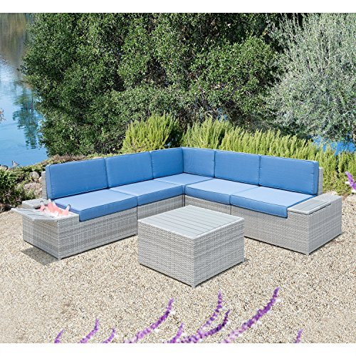 Aluminum Sectional Frame - HANTENG Outdoor Furniture 6 Pieces Garden Patio Sofa Set | Wicker Rattan Sectional with Blue Cushions | No Assembly Required | Aluminum Frame | Grey | Ice Bucket