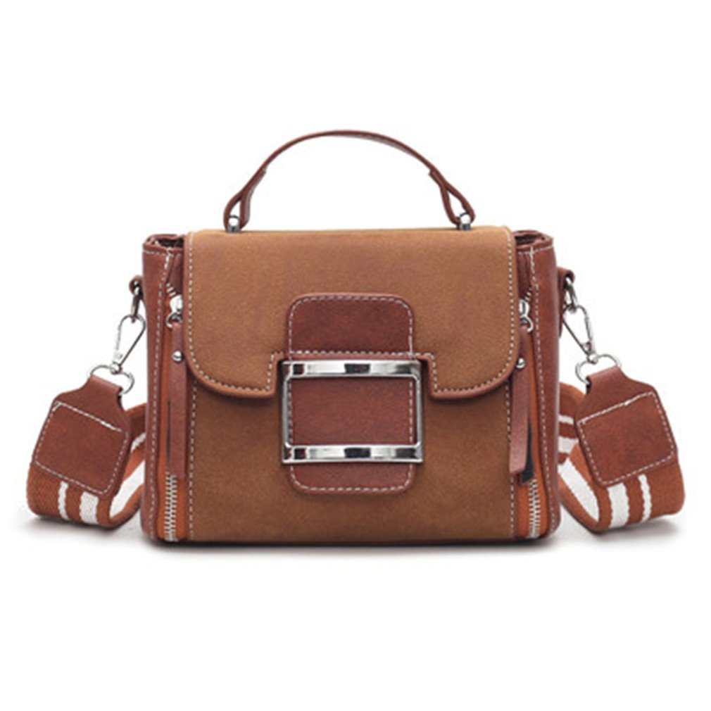 Chic-Dona Women Vintage Flap Bag Messenger Bags Handbags Women Bags Female Leather Bags Brown
