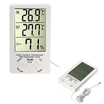 League & Co LCD Digital Interior Exterior higrómetro termómetro humedad medición de la temperatura min/